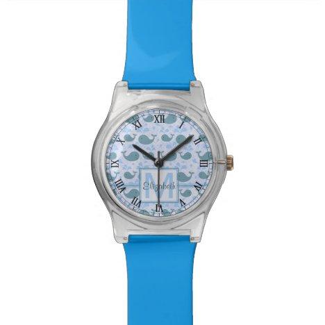 Cute Blue Whales Monogram Pattern Wristwatch