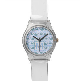 Cute Blue Whales Monogram Pattern Wristwatch