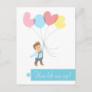 Cute Boy with Letter Balloons that Spell Love Post Cards