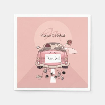 Cute Bride and Groom Pink Getaway Car Napkin