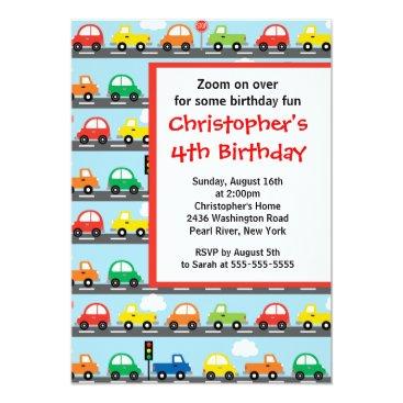 Cute Bright & Colorful Cars Birthday Party Invitation