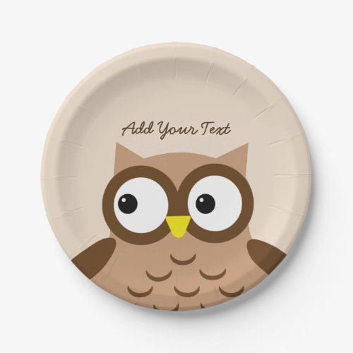 Cute Brown Owl Custom Text A03A Paper Plate