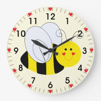 Cute Bumble Bee Hearts Large Clock