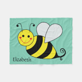 Cute Bumble Bee Personalized Fleece Blanket