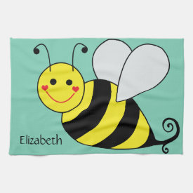 Cute Bumble Bee Personalized Hand Towels