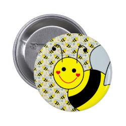Cute Bumble Bee Pinback Button