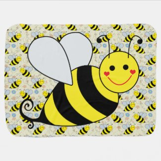 Cute Bumble Bee with Pattern Baby Blanket