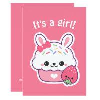 Cute Bunny Cupcake Baby Shower Invitations