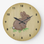 Cute Bunny in Clover on Rustic Wood Background Large Clock