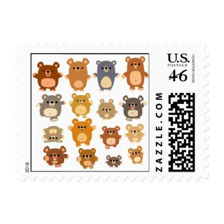 Cute Cartoon Bears postage stamp stamp