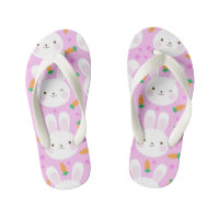 Cute cartoon bunnies and carrots on pink pattern kid's flip flops