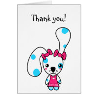 Cute Cartoon Bunny Rabbit Thank You Card