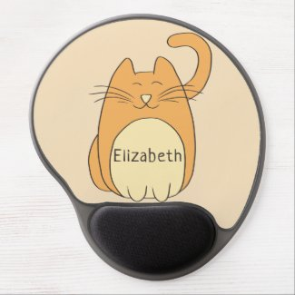 Cute Cartoon Cat Add Name Gel Mouse Pad