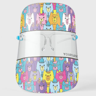Cute Cartoon Cats Personalize Face Shield