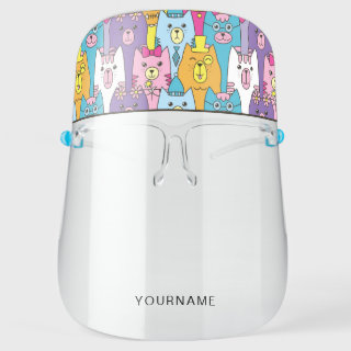 Cute Cartoon Cats Personalized Face Shield
