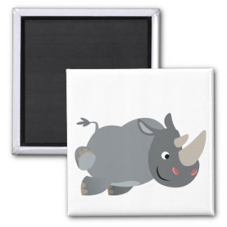 Cute Cartoon Charging Rhino Magnet magnet