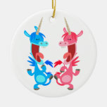 Cute Cartoon Dancing Unicorns Ornament