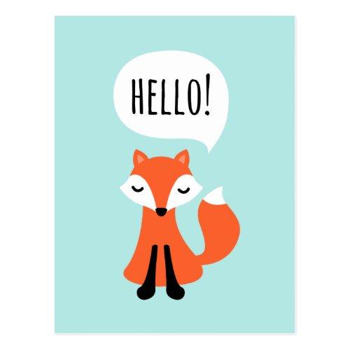 Cute cartoon fox on blue background saying hello postcard