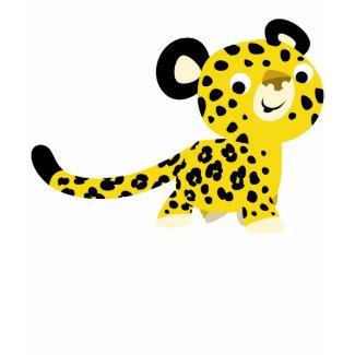 Cute Cartoon Friendly Leopard Children T-Shirt shirt