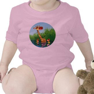 Cute Cartoon Giraffe and Ducklings Baby Creeper shirt