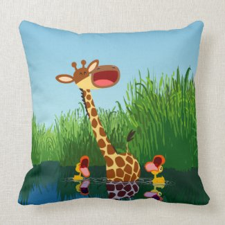 Cute Cartoon Giraffe and Ducklings Pillow throwpillow