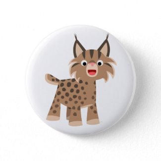 Cute Cartoon Happy Lynx Button Badge button