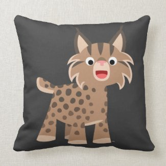 Cute Cartoon Happy Lynx Pillow throwpillow