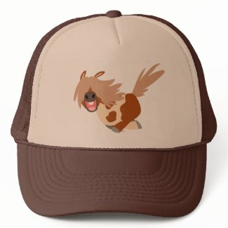 Cute Cartoon Happy Pinto Pony Trucker Hat hat
