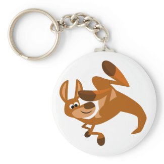 Cute Cartoon Kangaroo's Somersault Keychain keychain