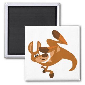 Cute Cartoon Kangaroo's Somersault Magnet magnet