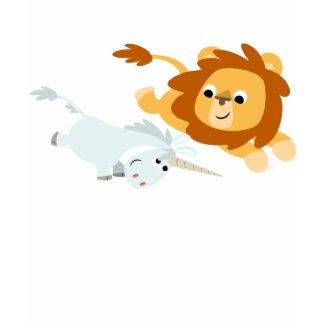 Cute Cartoon Lion and Unicorn children T-shirt shirt