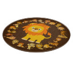 Cute Cartoon Lion Mandala Cutting Board