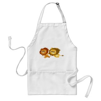 Cute Cartoon Lions in a Hurry Apron