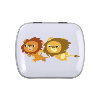 Cute Cartoon Lions in a Hurry Candy Tin