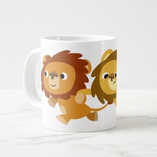 Cute Cartoon Lions in a Hurry Jumbo Mug