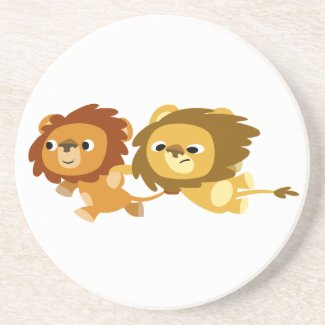 Cute Cartoon Lions in a Hurry Kitchen Coaster