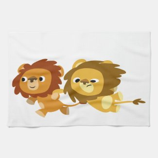 Cute Cartoon Lions in a Hurry Kitchen Towel