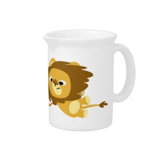Cute Cartoon Lions in a Hurry Pitcher