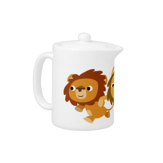 Cute Cartoon Lions in a Hurry Teapot