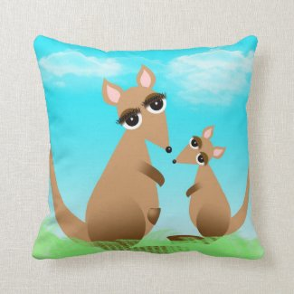 Cute cartoon mother and baby kangaroo pillows