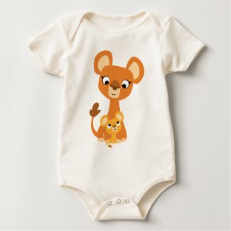 Cute Cartoon Mother Lion and cub- Baby Onesie shirt