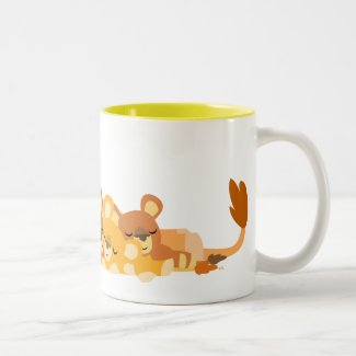 Cute Cartoon Mum Lion and Cubs mug mug
