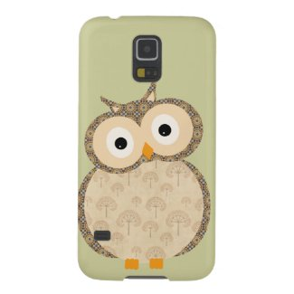 Cute cartoon owl fabric tree pattern case for galaxy s5