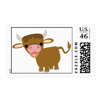 Cute Cartoon Ox postage stamp stamp