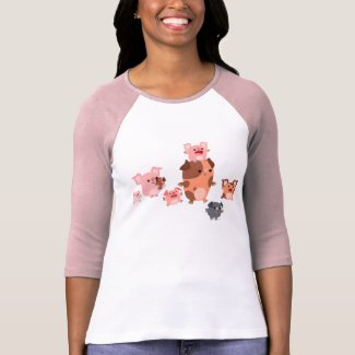Cute Cartoon Pig Family Women T-Shirt shirt