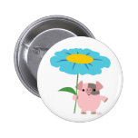 Cute Cartoon Pig With Gift (Blue) Button Badge