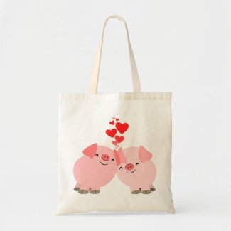 Cute Cartoon Pigs in Love Bag bag