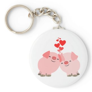 Cute Cartoon Pigs in Love Keychain keychain