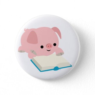 Cute Cartoon Reading Piglet Button Badge button