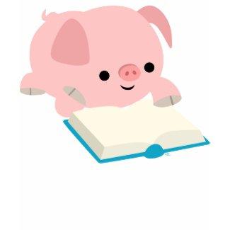 Cute Cartoon Reading Piglet Children T-Shirt shirt